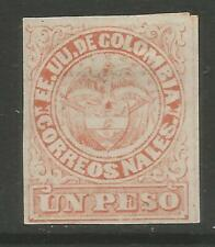 STAMPS-COLOMBIA. 1879. 1 Peso Vermilion on Laid Paper. SG: 83. Mint Hinged