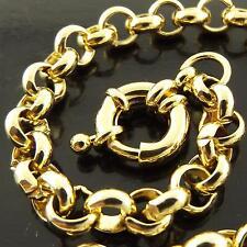 Bracelet Bangle Genuine Real 18k Yellow G/F Gold Solid Bolt Ring Belcher Design