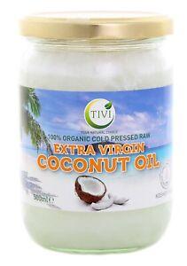 Tivi Organic Extra Virgin Raw Cold-Pressed Coconut Oil 500ml -glass jar