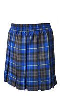 Girls School Skirt Box Pleat Party Tartan Skirt Red Blue Elasticated Knee Length