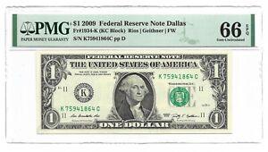 2009 $1 DALLAS FRN, PMG GEM UNCIRCULATED 66 EPQ BANKNOTE, 1st of 3