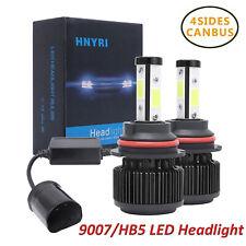 2X 4Sides 9007 HB5 Canbus LED Headlight Kit Bulb White 6000K High Low Beams Lamp