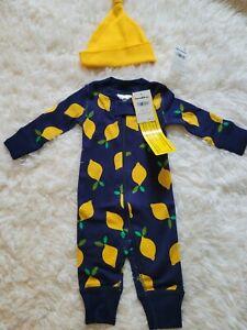 Hanna Andersson lemon print sleeper and hat size Newborn NWT's