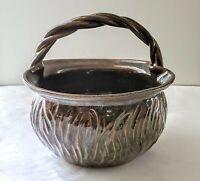 Carved Basket Bowl Pottery Glazed Handled Brown