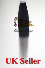 Best Quality 18'' Tape-In T1/Grey 100% Premier Remy Human Hair Extensions UK