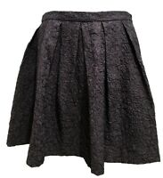 DRIES VAN NOTEN BLACK FLORAL PATTERN PLEATED SKIRT, 40, $895