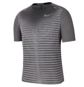 Nike Running Tee Mens Small New TechKnit Future Fast Run TShirt Reflective Black