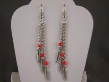"""silver Orange feather earrings triple multi chain dangle 3.5"""" long lightweight"""