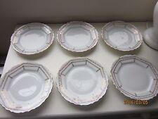"Six Vintage  7.25"" dia Bavaria Plates Gold Trim Rose border"