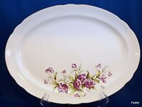 "Vintage Poinciana China Ware Oval Serving Platter 13.75"" Purple Flower Gold Trim"