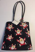 "Liz Claiborne 9"" Tall Santa Purse Tote Bag Black Christmas From Dillard's NWT"