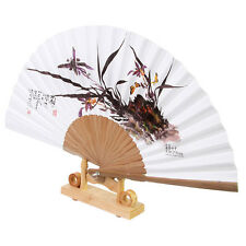 Korean Paper Bamboo Folding Fan Korean Tradition Hand Fan Orchids Picture