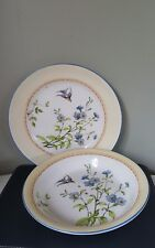 Antique c1910 J Kent Fenton Ye Olde Foley Ware Birds/Flora Strainer & Plate
