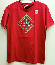 BUNDABERG RUM MEN'S RETRO 'OLD BUNDY' SLIM FIT 100% RED COTTON T-SHIRT MEDIUM
