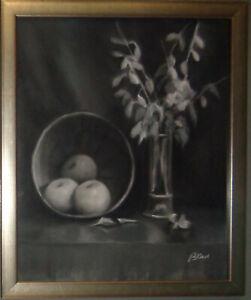 Bo Kass : Fruit and Plant, pastel drawing - Signed original, framed