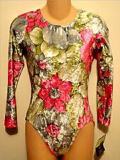 GK Elite Leotard Long Sleeved Gymnastic Dance Pink Green Velvet Floral AL