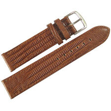 19mm Fluco Emporio German Made Tan Teju Lizard-Grain Leather Watch Band Strap