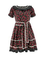 Death Kitty Black/Red Cherry Frill Summer Dress Goth/Lolita/Dolly/Cute/Kawaii M