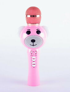 PINK BEAR KARAOKE BLU*TO**H HANDHELD MICROPHONE WITH LED LIGHT EARS