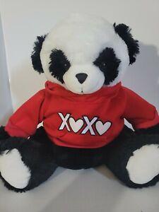BIG DAN DEE BLACK STUFFED PANDA BEAR PLUSH ANIMAL TOY RED XOXO HOODIE VALENTINES