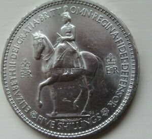 ELIZABETH 11 FIVE SHILLING COIN. 1953. I WILL BEAR UNTO YOU FAITH AND TRUTH