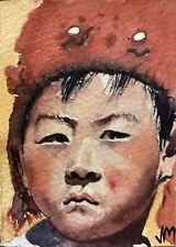 Aceo Original Watercolor  Painting Portrait  Fine Art Card  /Red Cap