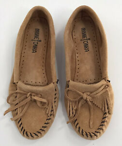 Minnetonka Moccasins Brown Leather Slip On Shoes Size 7