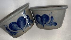 Rowe Pottery 2003 Heart Salt Glaze Bowl Cambridge Set Of 2