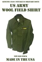US ARMY VINTAGE MILITARY OG-108 UTILITY FATIGUE WOOL FIELD SHIRT TOP MEN'S S NOS