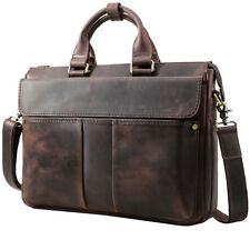 "Men's Retro Real Leather Messenger Shoulder 15"" Laptop Bag Briefcase Attache Bag"