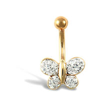 9Ct Oro Amarillo Mariposa Blanca Piedra Piercing de Ombligo