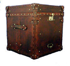 Vintage antique Trunk English handmade leather occasional side table chests Gift