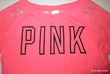 PINK Victoria's Secret Womens S Small Neon Top Shirt BLING Long Sleeve Lace Back