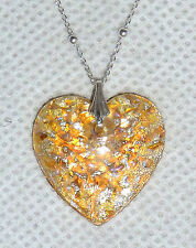 A HEART SHAPED MURANO FOIL GLASS PENDANT & SILVER CHAIN  - GOLDEN YELLOW