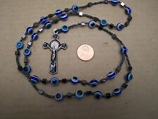Rosary with Evil Eye and Hematite Beads, Blue - Mexico