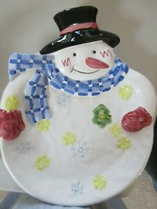 Christmas Snowman Serving Cookie Dish Nantucket