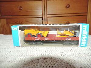 Märklin 4474 Niederbordwagen beladen m. 2 Wiking Bagger -73-