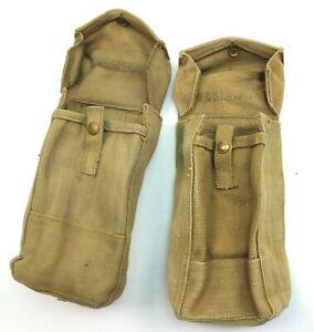 2 WW2 BRITISH ARMY 37 PATTERN POUCHES for BREN AMMO 1941 & 1943 USED (AUC)