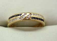Beautiful Quality 18 Carat Gold Sapphire And Diamond Band Ring Size P..1/2