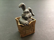 "Ricker Pewter Bunny Rabbit Gift Bag 2 Pieces Figurine Paperweight 2"" T Unusual"