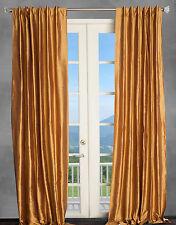 100% Silk Dupioni Gold (2) Curtains, Drapery Panels Window Treatment 50x108 New