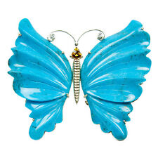 Natural Turquoise 14k yellow Gold Butterfly Brooch Pin