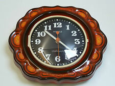 70er Jahre KIENZLE WANDUHR chronoquartz orange rot / space age wall clock 70s
