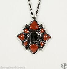 House of Harlow Gunmetal Red Kaleidoscope Fingerpick Pendant Necklace