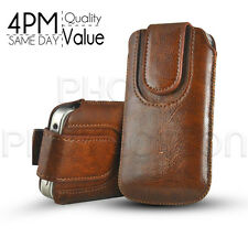 BUTTON PREMIUM PU LEATHER PULL TAB CASE COVER POUCH FOR VARIOUS Orange MOBILES