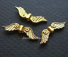 24 Fancy Angel Wings Metallic Beads Charms GOLD 22mm