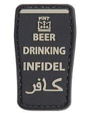 Beer Drinking Infidel PVC Rubber Military Cap Ubacs Badge Hook Back TRF BLACK