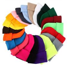 Beanie Plain Knit Ski Skull Hat Cap Cuff Winter Warm Slouchy Men Women Unisex