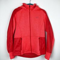 Under Armour Orang/Red Loose Cold Gear Swacket Jacket Hooded Zip Up