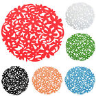 Round Laser Cut Flower Felt Placemats Kitchen Dinner Table Cup Mats Cushion C7L3